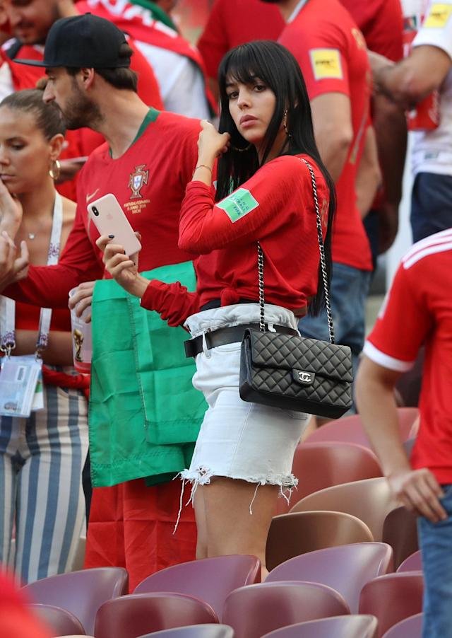 Soccer Football - World Cup - Group B - Portugal vs Morocco - Luzhniki Stadium, Moscow, Russia - June 20, 2018 Georgina Rodriguez, girlfriend of Portugal's Cristiano Ronaldo, after the match REUTERS/Carl Recine