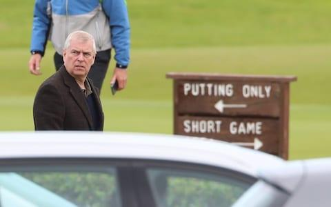 <span>A visit to Royal Portrush Golf Club in September was among Prince Andrew's first in public since the scandal broke over his friendship with disgraced financier Epstein</span> <span>Credit: PA </span>