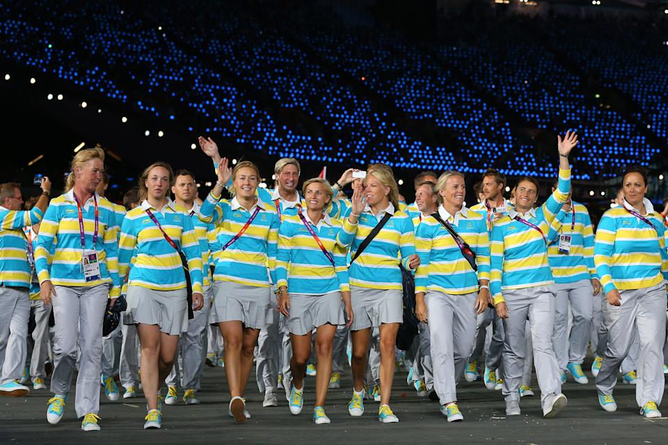 LONDON, ENGLAND - JULY 27: Members of the Swedish Olympic team enter the stadium during the Opening Ceremony of the London 2012 Olympic Games at the Olympic Stadium on July 27, 2012 in London, England. (Photo by Cameron Spencer/Getty Images)