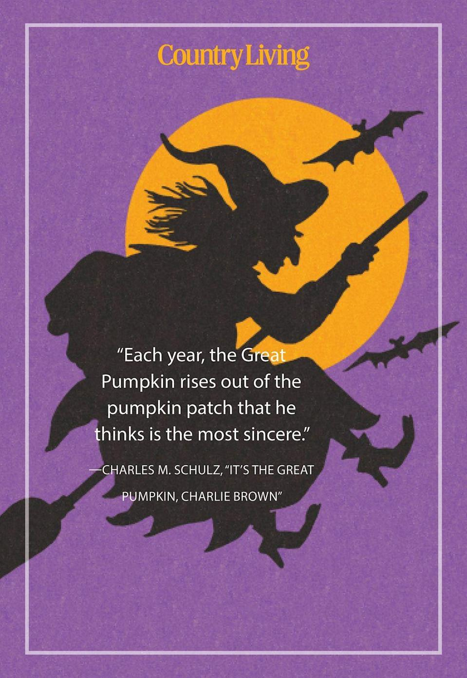 """<p>""""Each year, the Great Pumpkin rises out of the pumpkin patch that he thinks is the most sincere.""""</p>"""