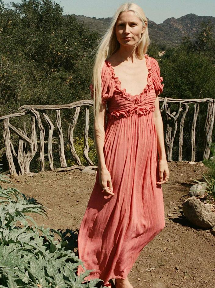 """Frilly, unique, and a little bit hippie—this option is perfect for a feel-good gathering tucked up in the mountains. $698, Dôen. <a href=""""https://shopdoen.com/collections/new-arrivals/products/drew-dress-mirage"""" rel=""""nofollow noopener"""" target=""""_blank"""" data-ylk=""""slk:Get it now!"""" class=""""link rapid-noclick-resp"""">Get it now!</a>"""