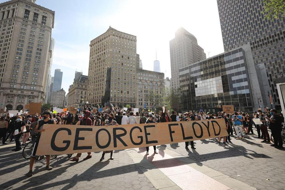 Hundreds of protesters gather in Manhattan's Foley Square during a May protest over the death of George Floyd, a Black man killed when a police officer kneeled on his neck during a May 29 arrest in Minneapolis. / Credit: Getty Images