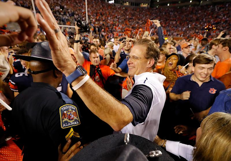 AUBURN, ALABAMA - NOVEMBER 30: Head coach Gus Malzahn of the Auburn Tigers celebrates their 48-45 win over the Alabama Crimson Tide at Jordan Hare Stadium on November 30, 2019 in Auburn, Alabama. (Photo by Kevin C. Cox/Getty Images)