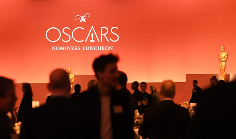 Guests mingle during the 2020 Oscars Nominees Luncheon at the Dolby theatre in Hollywood on January 27, 2020. (Photo by Robyn BECK / AFP) (Photo by ROBYN BECK/AFP via Getty Images)