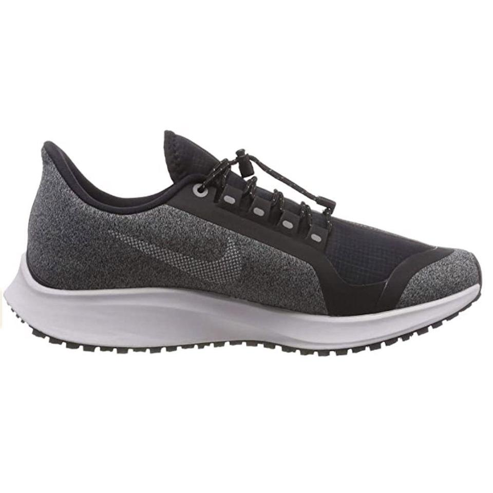 """<p><strong>Nike</strong></p><p>amazon.com</p><p><strong>$137.46</strong></p><p><a href=""""https://www.amazon.com/dp/B07BQXXG1S?tag=syn-yahoo-20&ascsubtag=%5Bartid%7C2139.g.36608417%5Bsrc%7Cyahoo-us"""" rel=""""nofollow noopener"""" target=""""_blank"""" data-ylk=""""slk:BUY IT HERE"""" class=""""link rapid-noclick-resp"""">BUY IT HERE</a></p><p>What makes the Air Zoom Pegasus 35 Shield the best pick for the cold months? This springy running shoe excels at keeping out rain and slush, thanks to a water-repellent ripstop upper. This design also has a toggle lacing system that's easy to adjust in wet weather (no fumbling over laces with numb fingers) and grippy rubber soles that provide traction for running on slippery surfaces. </p>"""