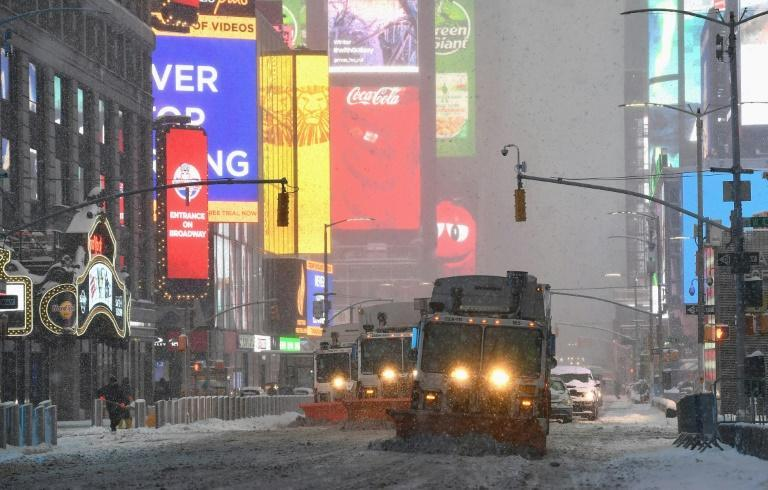 Snow plows in New York's Times Square on February 1, 2021