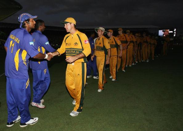 BRIDGETOWN, BARBADOS - APRIL 28:  Ricky Ponting of Australia shakes hands with Kumar Sangakkara of Sri Lanka after Australia defeated Sri Lanka during the ICC Cricket World Cup Final between Australia and Sri Lanka at the Kensington Oval on April 28, 2007 in Bridgetown, Barbados.  (Photo by Hamish Blair/Getty Images)