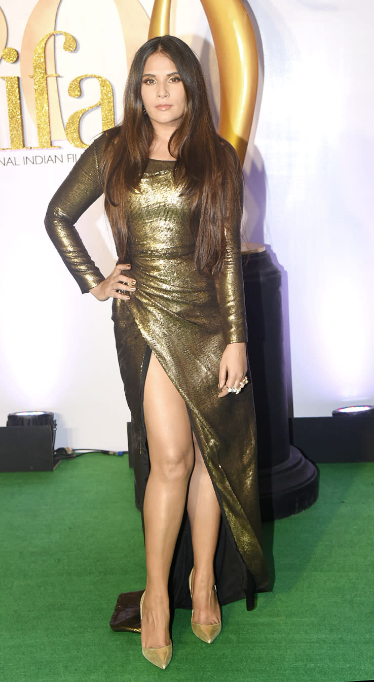 Richa Chadha sparkles in shimmery dress.