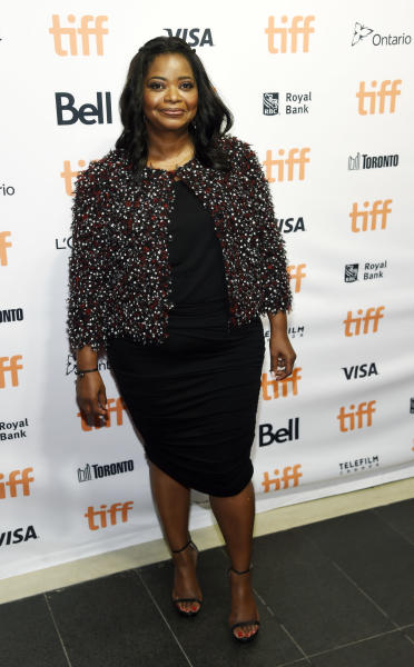 """Octavia Spencer, a cast member in """"Hidden Figures,"""" poses at a photo call for the film on day 3 of the Toronto International Film Festival at the TIFF Bell Lightbox on Saturday, Sept. 10, 2016, in Toronto. (Photo by Chris Pizzello/Invision/AP)"""