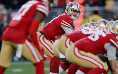 <span>Jimmy Garoppolo delivered a composed performance in his first playoff start </span> <span>Credit: REX </span>