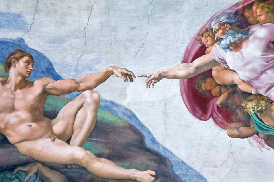 """Italy, Rome, Vatican City, Michelangelo's """"Creation of Adam"""" fresco painting. (Photo: Michele Falzone via Getty Images)"""