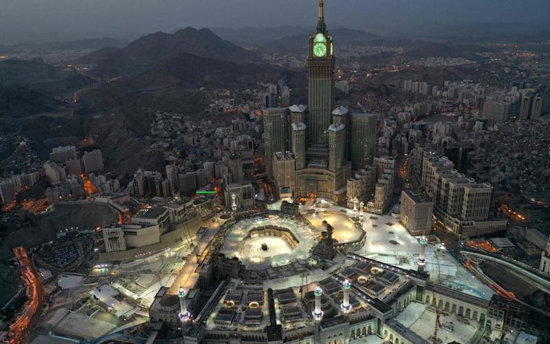 An aerial view of Saudi Arabia's holy city of Mecca taken during the early hours of Eid al-Fitr - AFP
