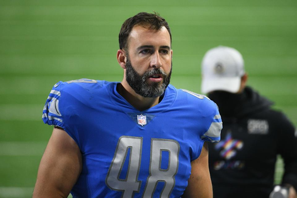 Don Muhlbach, seen here after a 2020 game, has been released by the Detroit Lions
