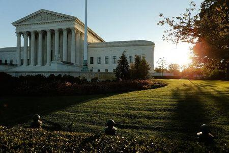 A general view of the U.S. Supreme Court building at sunrise is seen in Washington