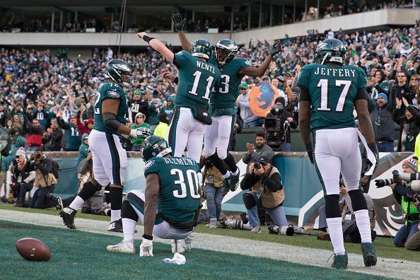 Alshon Jeffery scored a touchdown, earned a bonus and trolled his former team on a very full Sunday for the wideout. (Getty Images)