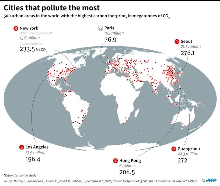 Map showing 500 urban areas in the world with the highest carbon footprint (AFP Photo/Sabrina BLANCHARD)