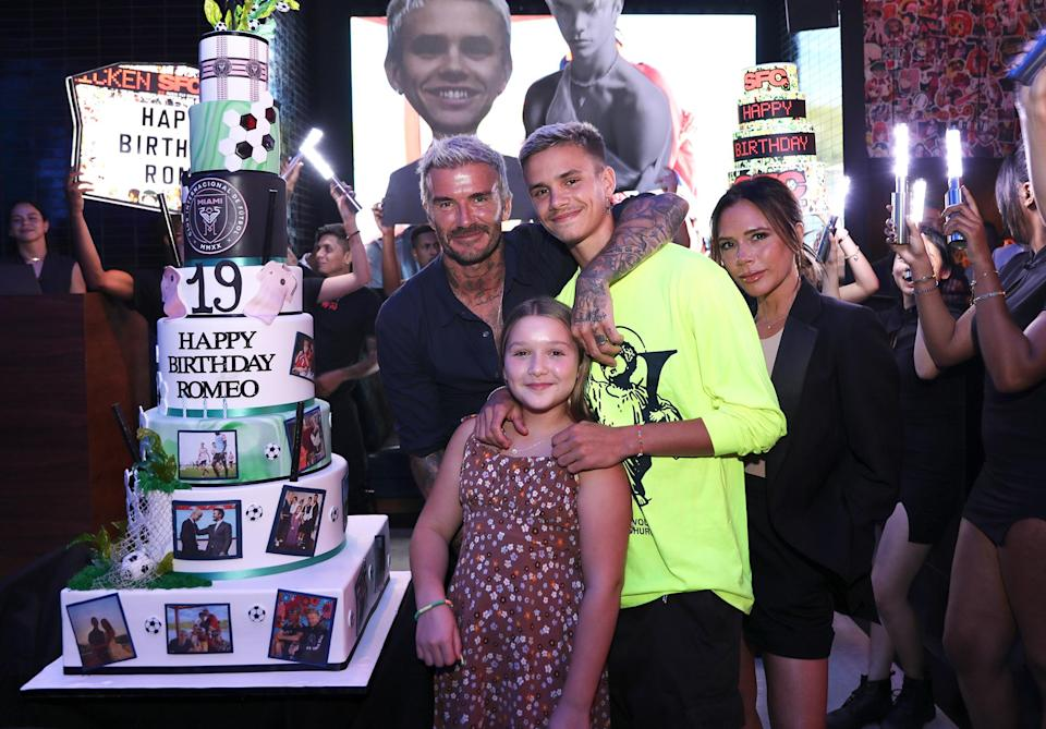 <p>David, Victoria and Harper Beckham pose with birthday boy Romeo for his 19th birthday at Sushi Fly Chicken in Miami on Sept. 1.</p>