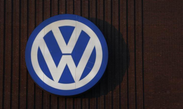 A Volkswagen company logo adorns the VW factory in Wolfsburg, Germany