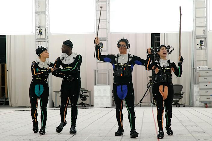 Motion capture actors perform for the virtual-reality experience The March on a soundstage at the Digital Domain studios in Los Angeles. | Dustin Bath