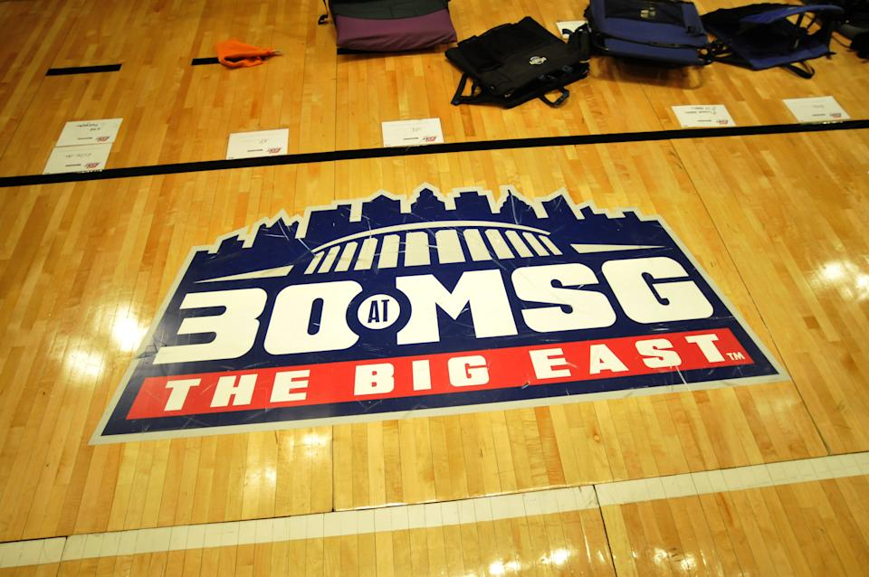 A close-up view of the Big East Conference logo during the semifinals of the 2012 men's basketball tournament. (Photo by Tom Maguire/BIG EAST Conference/Collegiate Images via Getty Images)