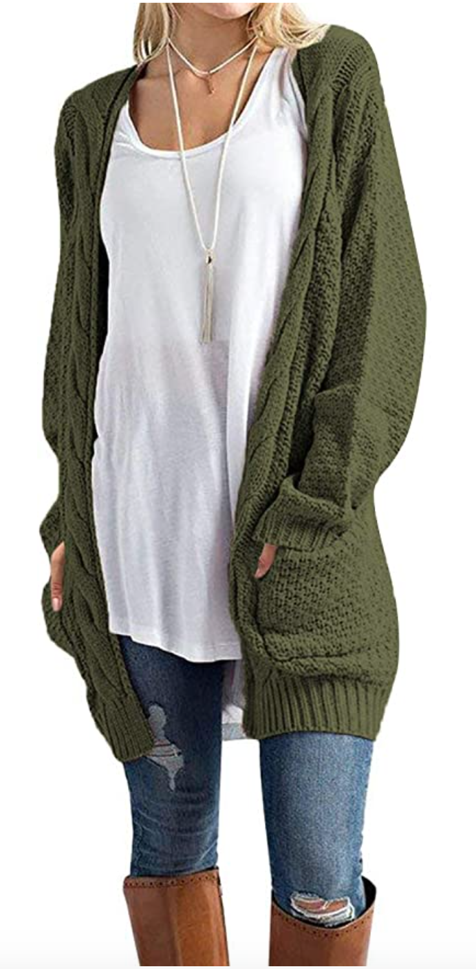 With all the cash she's saving on this wondrous sweater, she can finally afford to get her jeans patched. (Photo:Amazon)