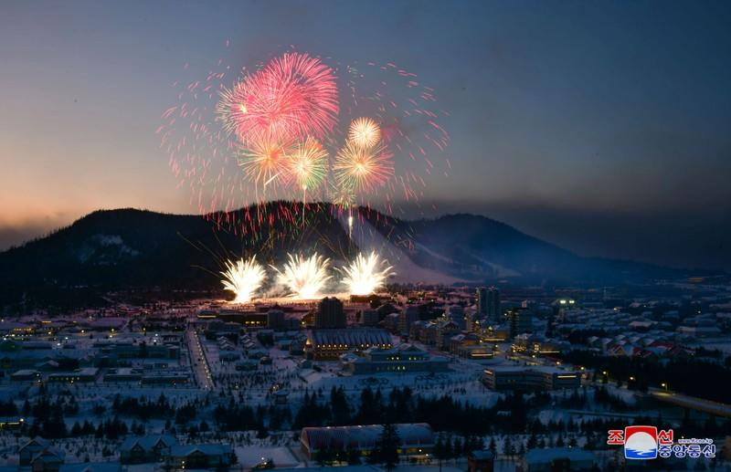 Fireworks explode above during a ceremony celebrating the completion of township of Samjiyon County, North Korea