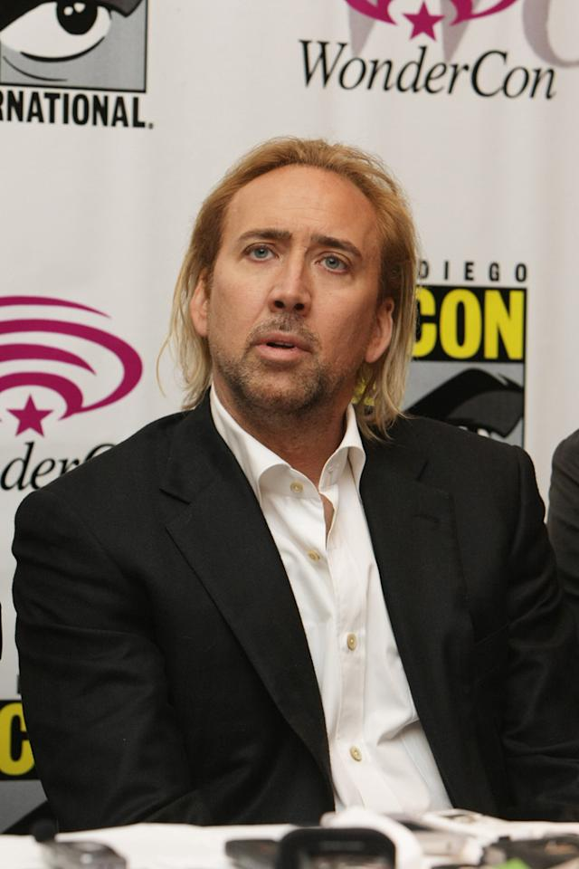 """<a href=""""http://movies.yahoo.com/movie/1810152301/info"""">DRIVE ANGRY 3D</a> -- The Thinning Sleaze   Cage pushes bad hair into a whole new dimension for his upcoming movie, """"Drive Angry 3D"""" -- combining the unfortunate stylings of a Texan squirrel hunter and a cut-rate escort from Monaco."""