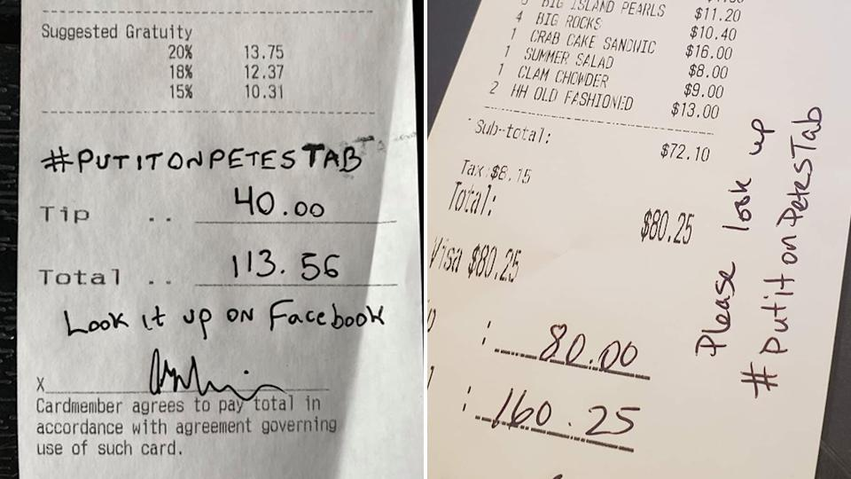 Two photos of restaurant bills say 'Put it on Pete's tab'.