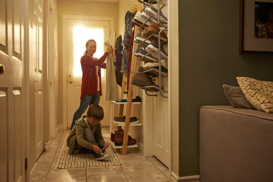 Parent and child with entryway shoe storage