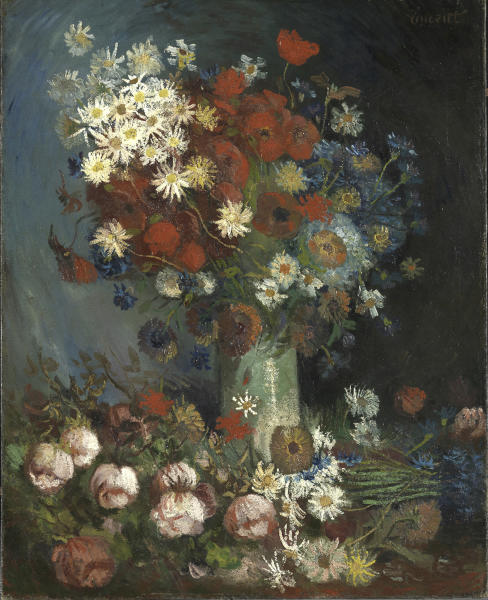 """This photo provided by the Kroeller Mueller Museum in Otterlo, Netherlands, Tuesday, March 20, 2012, shows a painting entitled """"Still life with meadow flowers and roses"""" by Vincent van Gogh. The Kroeller Mueller Museum says new X-ray research has finally put beyond doubt that """"Still life with meadow flowers and roses"""" really is by Van Gogh. It has also uncovered in greater detail an art school study by Van Gogh of two wrestlers concealed on the same canvas and invisible to the naked eye. (AP Photo/Kroeller Mueller Museum, HO) EDITORIAL USE ONLY"""