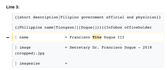 Edit history of the Wikipedia entry on Francisco Duque III