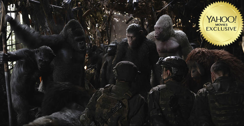 """<p>After the rise and the dawn comes the war. The battle lines are drawn as apes, led by grizzled veteran Caesar (<a rel=""""nofollow"""" href=""""https://www.yahoo.com/movies/tagged/andy-serkis"""" data-ylk=""""slk:Andy Serkis"""" class=""""link rapid-noclick-resp"""">Andy Serkis</a>), and humans, headed by a Col. Kurtz-like <a rel=""""nofollow"""" href=""""https://www.yahoo.com/movies/tagged/woody-harrelson"""" data-ylk=""""slk:Woody Harrelson"""" class=""""link rapid-noclick-resp"""">Woody Harrelson</a>, clash in one final skirmish to decide the future of the planet formerly known as Earth. 