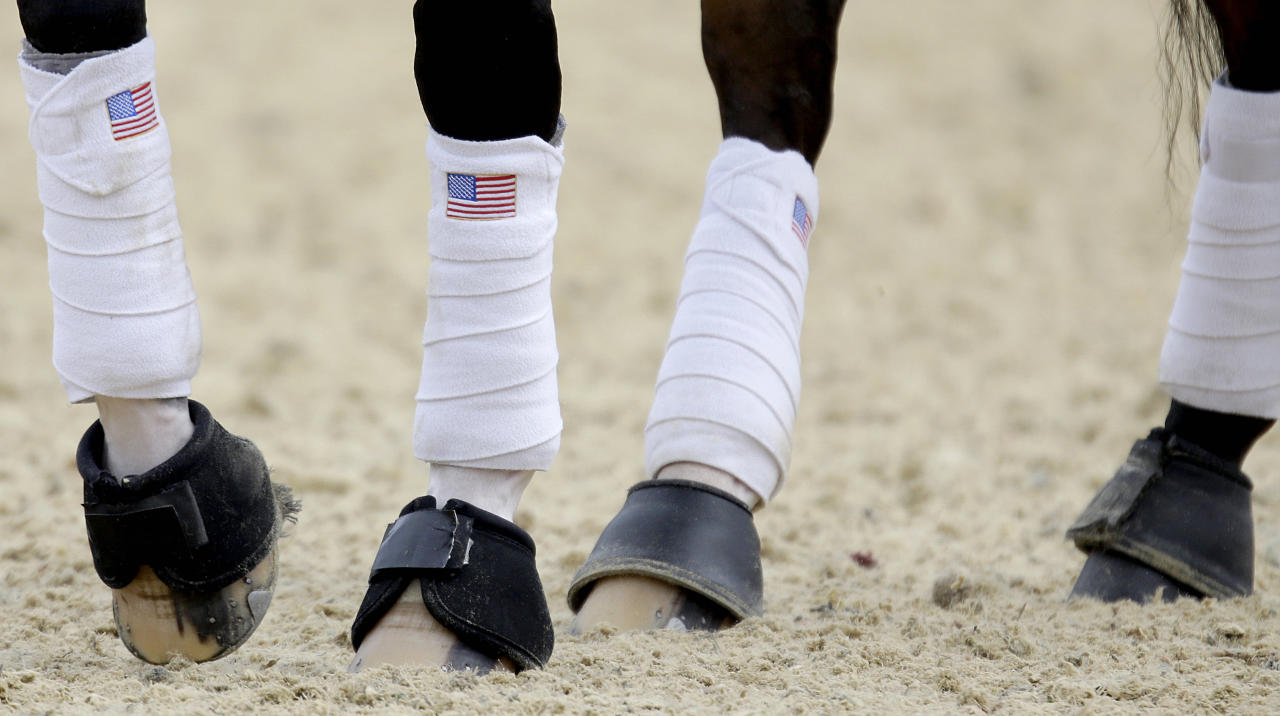 American flags decorate the leg wraps of Rafalca, a horse ridden by Jan Ebeling of the United States, during a training session for the equestrian dressage competition at the 2012 Summer Olympics, Wednesday, Aug. 1, 2012, in London. Rafalca is co-owned by Ann Romney, the wife of U.S. Republican presidential candidate Mitt Romney. (AP Photo/David Goldman)