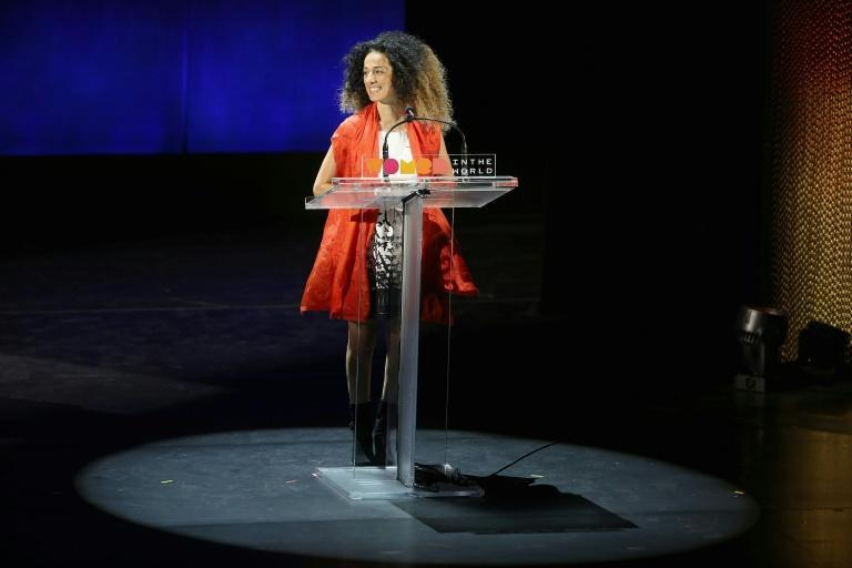 Masih Alinejad speaks onstage at a Women in the World Summit at the Lincoln Center on April 8, 2016 in New York City (AFP/Jemal Countess)