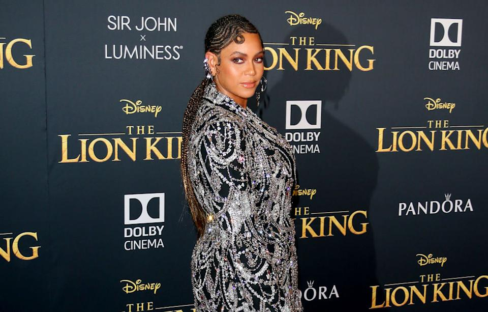 """Beyoncé attends the premiere of Disney's """"The Lion King"""" on July 9 at Dolby Theatre in Hollywood, California. (Photo: Jean Baptiste Lacroix/WireImage)"""