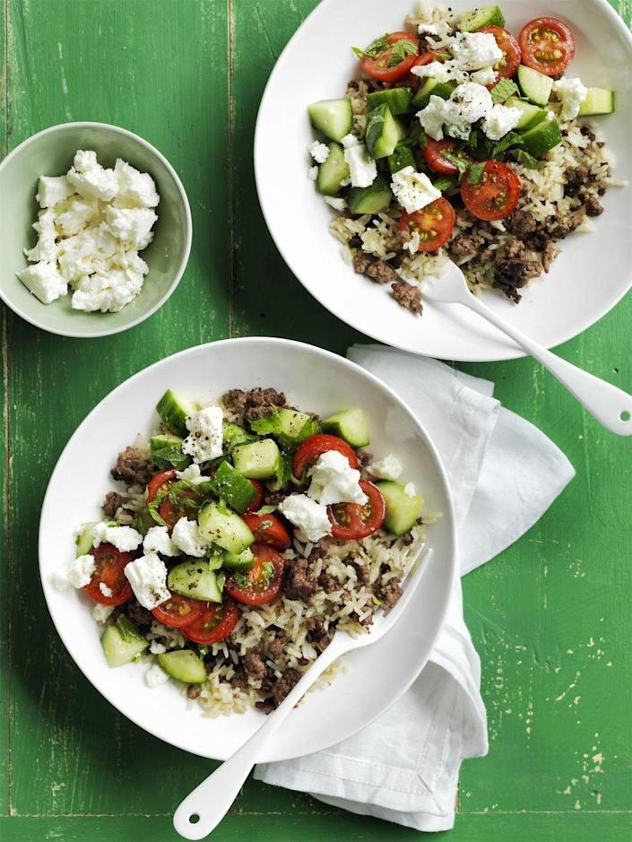 """<p>Give the Asian staple a Greek twist with feta cheese, tomatoes and mint.</p><p><em><a href=""""https://www.womansday.com/food-recipes/food-drinks/recipes/a55779/mediterranean-fried-rice-recipe/"""" rel=""""nofollow noopener"""" target=""""_blank"""" data-ylk=""""slk:Get the recipe from Woman's Day »"""" class=""""link rapid-noclick-resp"""">Get the recipe from Woman's Day »</a></em></p><p><strong>RELATED: </strong><a href=""""https://www.goodhousekeeping.com/food-recipes/healthy/g4357/mediterranean-diet-meal-plan/"""" rel=""""nofollow noopener"""" target=""""_blank"""" data-ylk=""""slk:Your 1-Week Mediterranean Diet Meal Plan"""" class=""""link rapid-noclick-resp"""">Your 1-Week Mediterranean Diet Meal Plan</a><br></p>"""