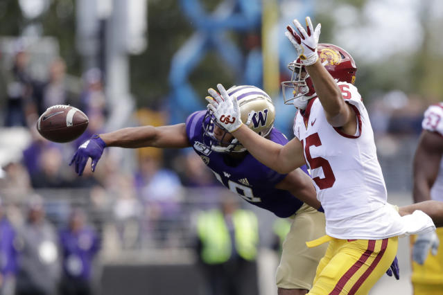 Washington's Kyler Gordon, left, knocks away a pass intended for Southern Cal's Drake London in the first half of an NCAA college football game Saturday, Sept. 28, 2019, in Seattle. (AP Photo/Elaine Thompson)