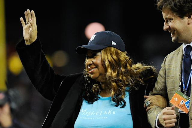 "Aretha Franklin was an icon in Detroit, and the <a class=""link rapid-noclick-resp"" href=""/mlb/teams/det"" data-ylk=""slk:Tigers"">Tigers</a> found the perfect way to pay tribute to the Queen of Soul. (Getty Images)"