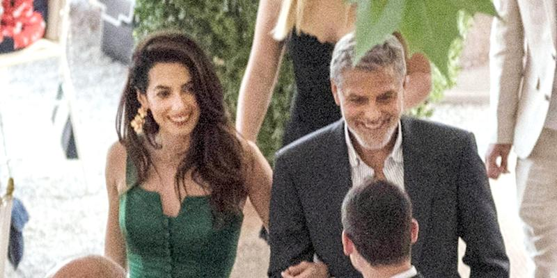 Amal Clooney Glows in Emerald Green During Dinner in Italy