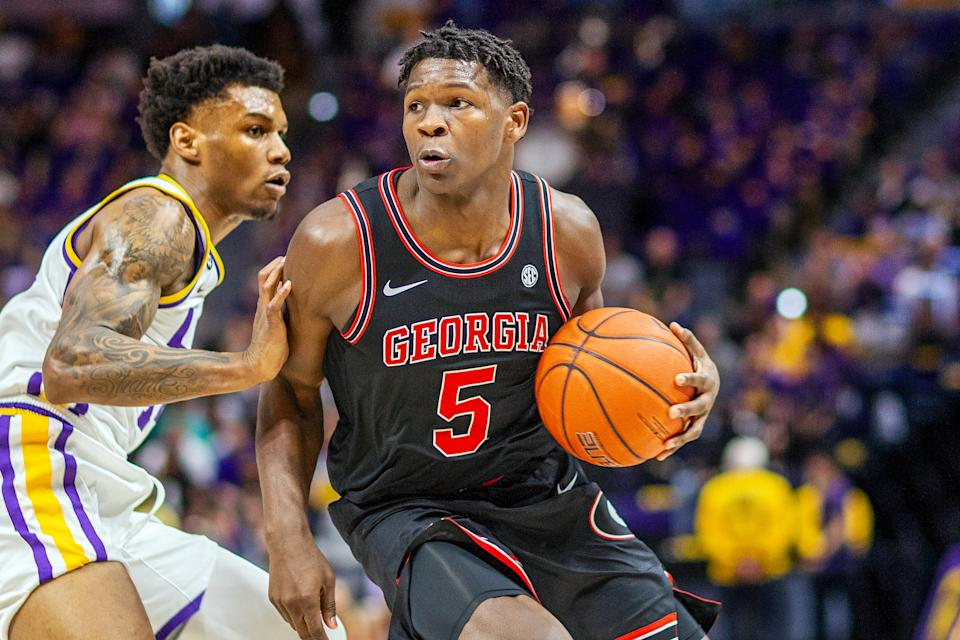 BATON ROUGE, LA - MARCH 07: Georgia Bulldogs guard Anthony Edwards (5) dribbles the ball the ball during a game between the Georgia Bulldogs and the LSU Tigers at the Pete Maravich Assembly Center in Baton Rouge, Louisiana on March 7, 2020. (Photo by John Korduner/Icon Sportswire via Getty Images)