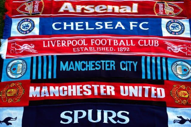 Scarves from the 'big six' English teams