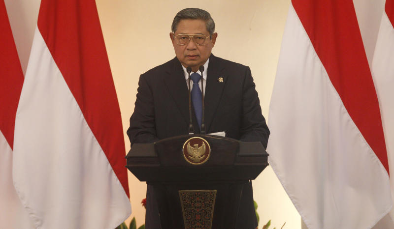 Indonesian President Susilo Bambang Yudhoyono delivers his speech during the 2nd Conference on Cooperation among East Asian Countries for Palestinian Development (CEAPAD) in Jakarta, Indonesia, Saturday, March 1, 2014. (AP Photo/Achmad Ibrahim, Pool)