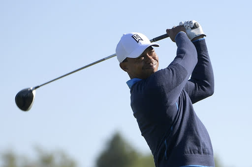 Tiger Woods tees off on the 16th hole during the first round of the Arnold Palmer Invitational golf tournament Thursday, March 15, 2018, in Orlando, Fla. (AP Photo/Phelan M. Ebenhack)