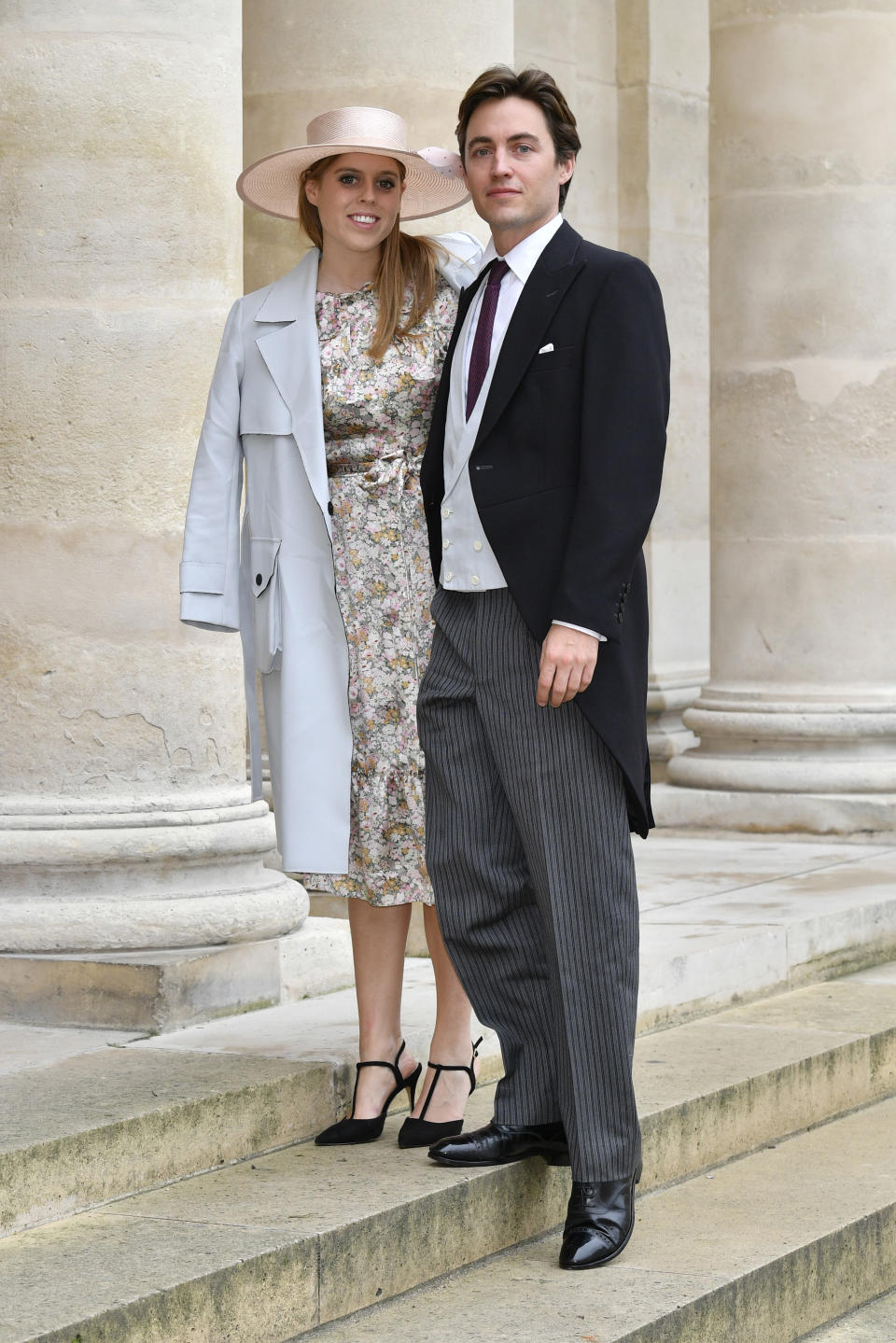 Princess Beatrice d'York and her fiance Edoardo Mapelli Mozzi attend the Wedding of Prince Jean-Christophe Napoleon and Olympia Von Arco-Zinneberg at Les Invalides on October 19, 2019 in Paris, France.