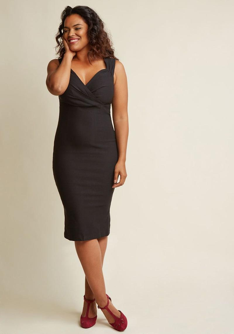 "A black sheath dress that will flatter any body type. Get this fail-proof dress at <a href=""https://www.modcloth.com/shop/party-dresses/lady-love-song-velvet-dress/106348.html?dwvar_106348_color=BLK&breadcrumb=special_occasion_dresses_437"" target=""_blank"">Modcloth for $80</a>."