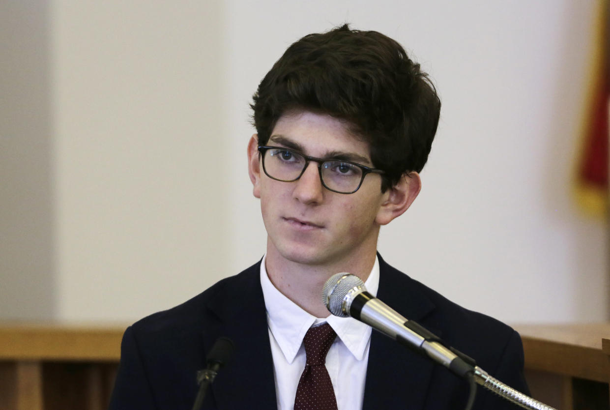 Former St. Paul's School student Owen Labrie testifies at his trial in 2015. He is currently out on bail while appealing the verdict in the sexual assault case against him. (Photo: Charles Krupa/AP)