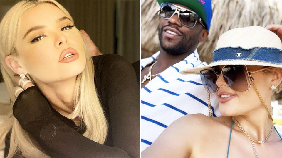 Floyd Mayweather (pictured right) with his fiancee Anna Monroe and the Instagram influencer (pictured left) posing.