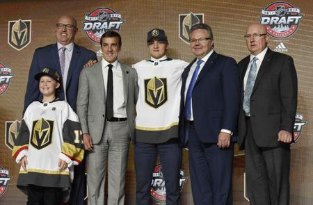 June 23, 2017; Chicago, IL, USA; Erik Brannstrom poses for photos after being selected as the number fifteen overall pick to the Vegas Golden Knights in the first round of the 2017 NHL Draft at the United Center. Mandatory Credit: David Banks-USA TODAY Sports