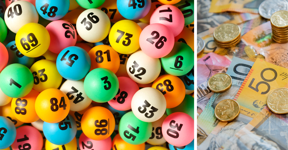 Lotto balls depicting different numbers and Australian money in a pile