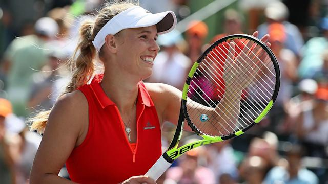 Former world number one Caroline Wozniacki wasted little time in beating Kateryna Kozlova in the quarter-finals of the Ericsson Open.